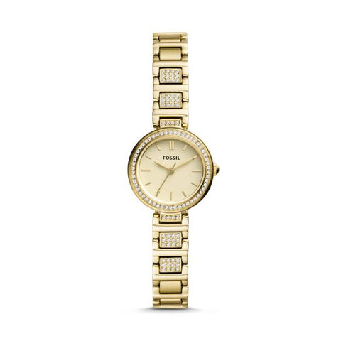 Fossil Karli Mini Three-Hand Gold-Tone Stainless Steel Watch BQ3518