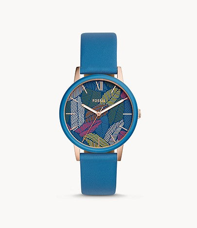 Women Cambry Three-Hand Blue Leather Watch BQ3592