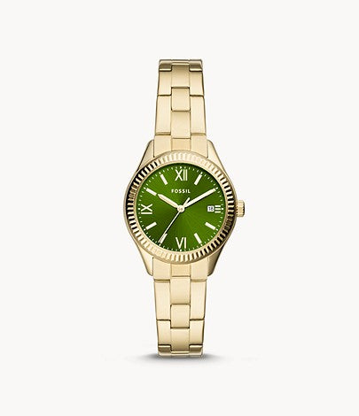 Fossil Women Rye Three-Hand Date Gold-Tone Stainless Steel Watch In Green
