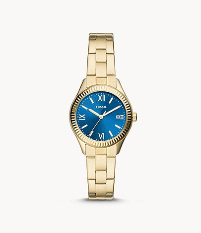 Fossil Women Rye Three-Hand Date Gold-Tone Stainless Steel Watch In Blue BQ3634