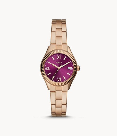 Fossil Women Rye Three-Hand Date Gold-Tone Stainless Steel Watch In Pink BQ3636