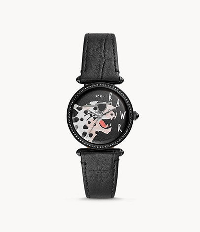 Women Lyric Three-Hand Black Leather Watch