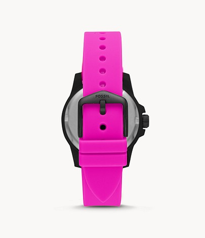 Fossil Women FB-Adventure Three-Hand Date Pink Silicone Watch ES4908
