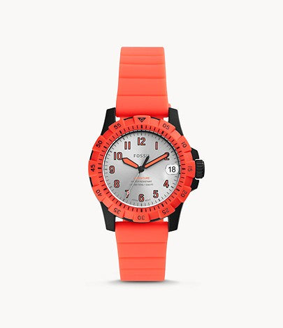 Fossil Women FB-Adventure Three-Hand Date Pink Silicone Watch ES4909