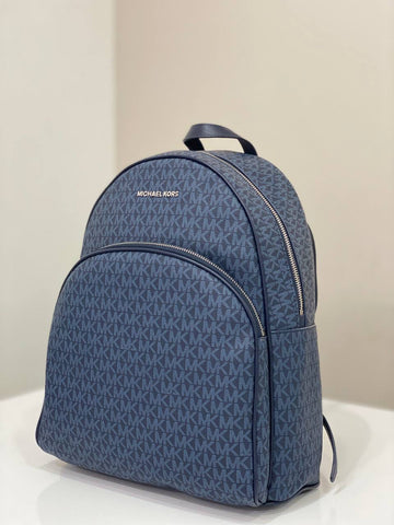 Michael Kors Abbey Backpack Large In Monogram Admiral Navy