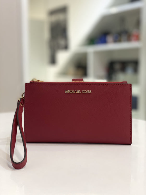 Michael Kors Large Double Zip Phone Wristlet in Leather Scarlet