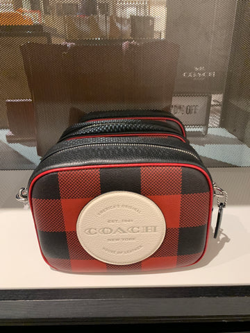 Coach Dempsey Camera Bag With Buffalo Plaid Print And Coach Patch Red Multi
