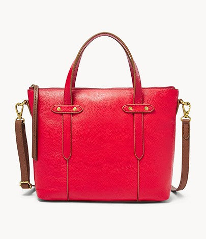 Fossil Felicity Satchel In Brick Red