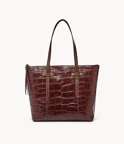 Fossil Felicity Tote In Brown Crocodile Print