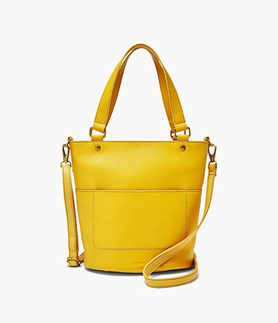 Fossil Amelia Small Bucket Bag In Golden Yellow