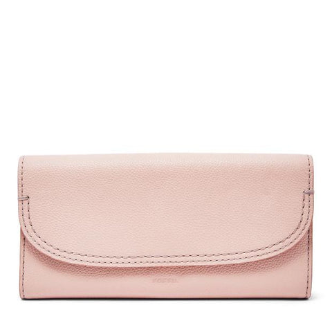 Fossil Cleo Clutch in Leather Dusty Rose