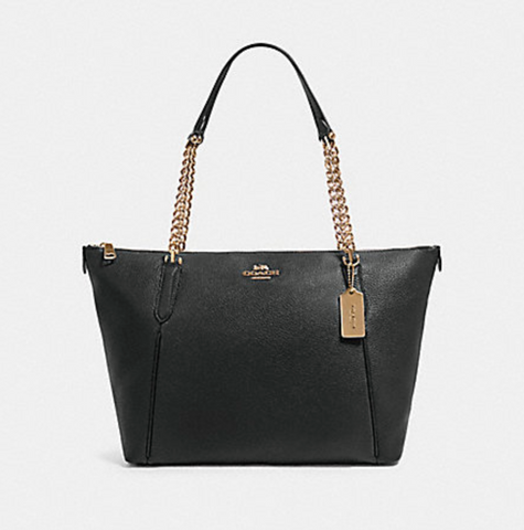 Coach Ava Chain Tote In Black