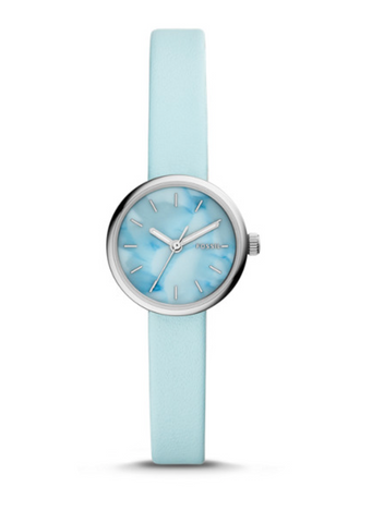 Fossil Hutton Mini Three-hand Aqua Leather Watch BQ3493