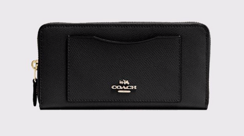 Coach Accordion Zip Wallet In Black Gold