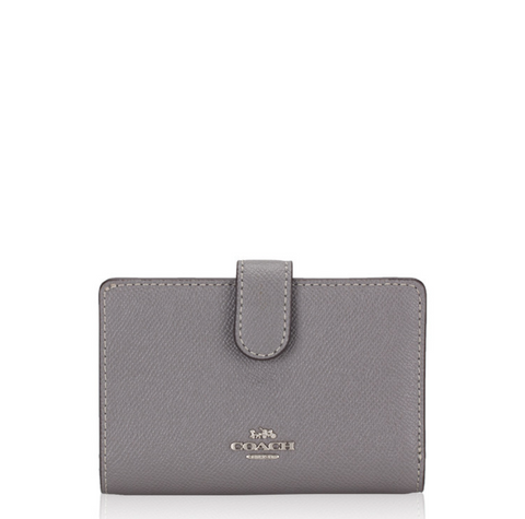 Coach Medium Corner Zip Wallet In Gray