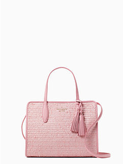 Kate Spade Rowe Summer Tweed Medium Top Zip Satchel Pink Multi