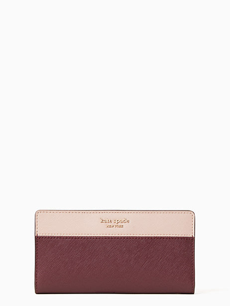 Kate Spade Cameron Large Slim Bifold In Wine Colorblock