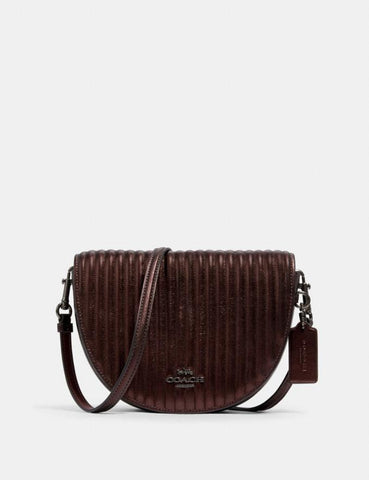 Coach Ellen Crossbody With Linear Quilting In Metallic Crimson