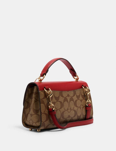 Coach Tilly Satchel 23 In Signature Khaki Red