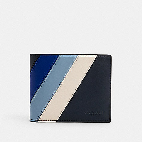 Coach 3-in-1 Men Wallet With Diagonal Stripe In Midnight Sport Blue