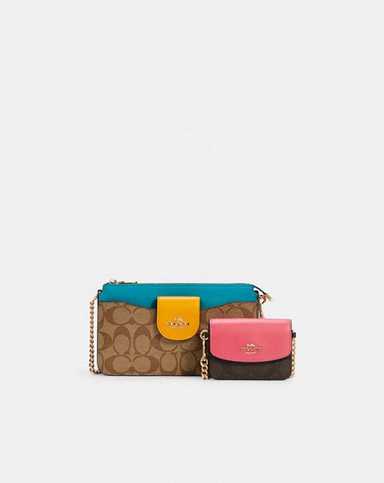 Coach Poppy Crossbody In Colorblock Signature Khaki Brown Multi