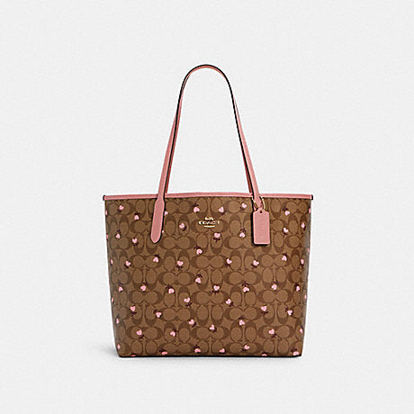 Coach Open City Tote In Signature Khaki Red Multi Wine With Floral Print