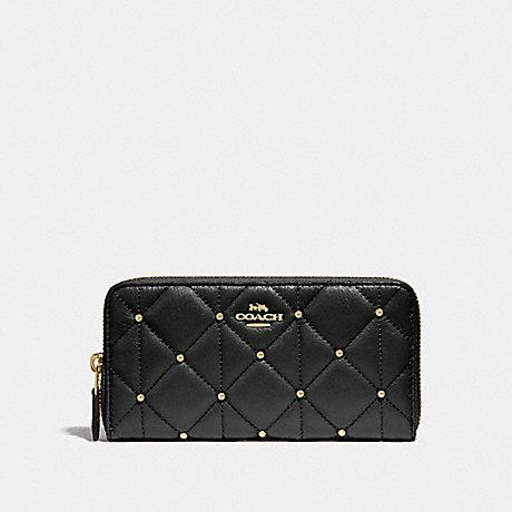 Coach Accordion Zip Wallet with Quilting in Black