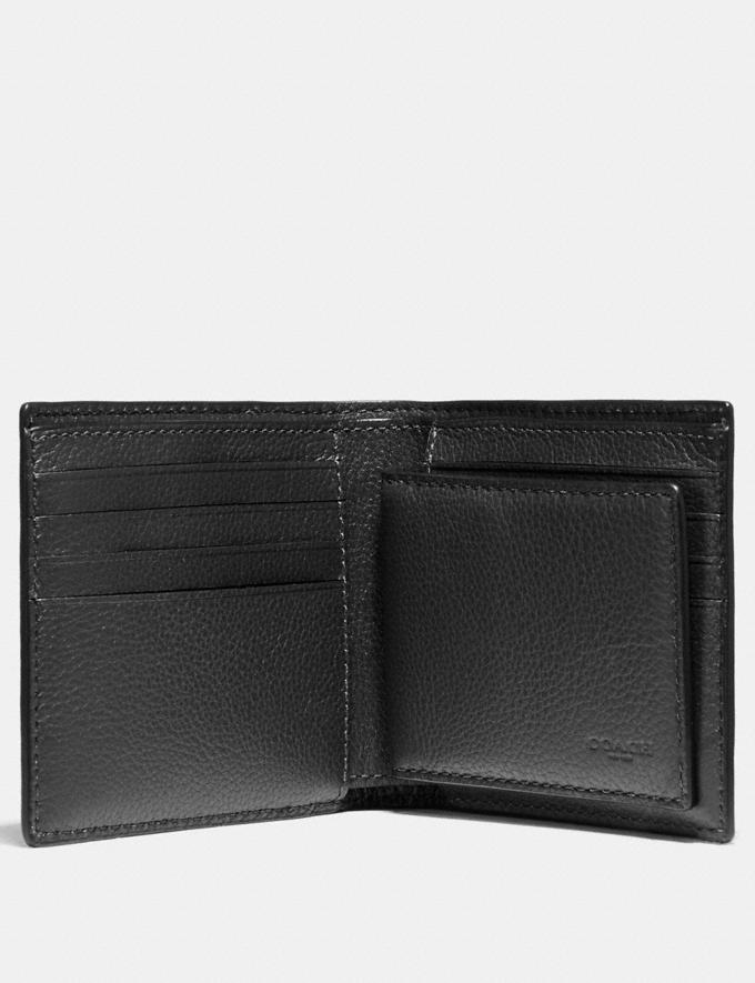 Coach 3-In-1 Men Wallet With Baseball Stitch In Black