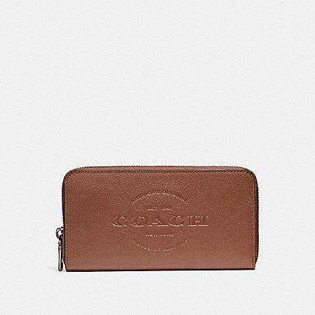 Coach Accordion Zip Wallet in Saddle Logo
