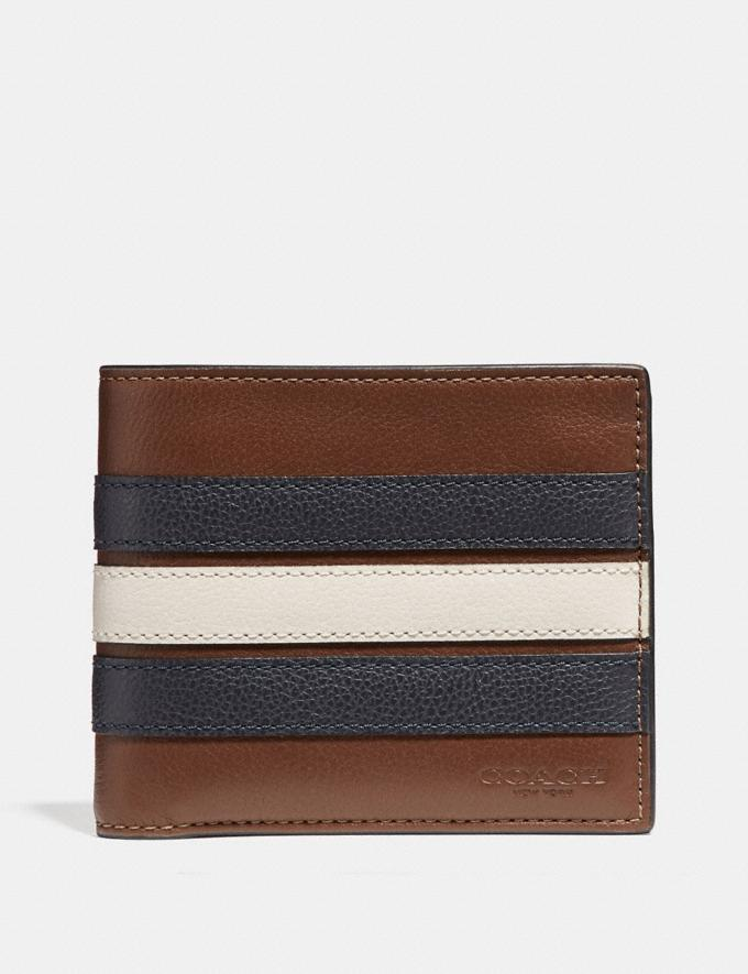 Coach 3-In-1 Men Wallet With Varsity Stripe In Saddle