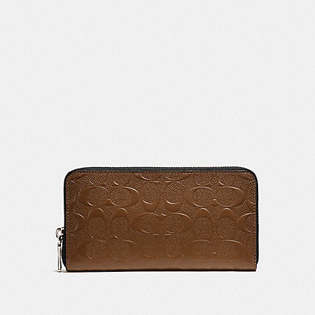 Coach Accordion Zip Wallet in Debossed Saddle