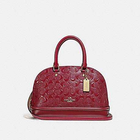 Coach Mini Sierra in Embossed Patent Leather Cherry