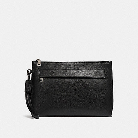 Coach Carryall Pouch in Pebbled Leather Black
