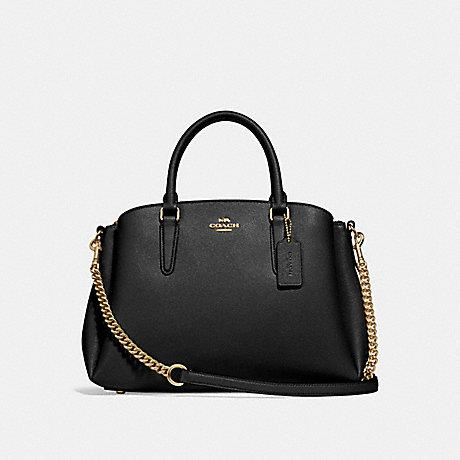 Coach Sage Caryall in Leather Black Gold/Hardware