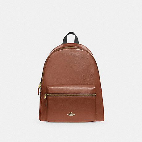 Coach Charlie Large Backpack In Leather Saddle