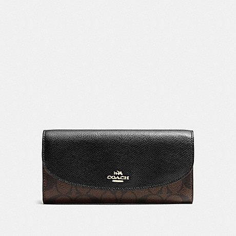 Coach Slim Envelope in Signature Dark Brown/Black