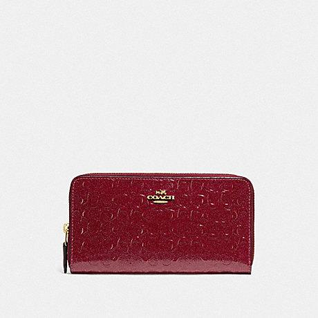 Coach Accordion Zip Wallet in Debossed Leather Cherry