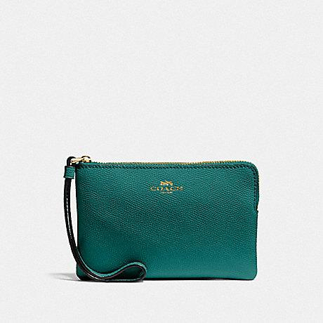 Coach Small Single Corner Zip Wristlet in Leather Viridian