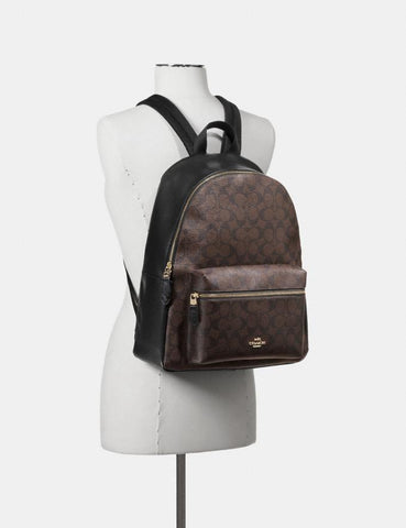 Coach Charlie Large Backpack In Signature Brown Black