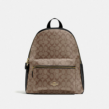 Coach Charlie Large Backpack In Signature Khaki Black