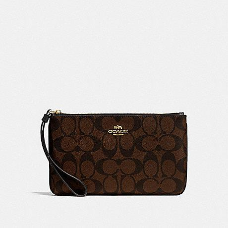 Coach Double Zipper Large Wristlet Signature in Dark Brown