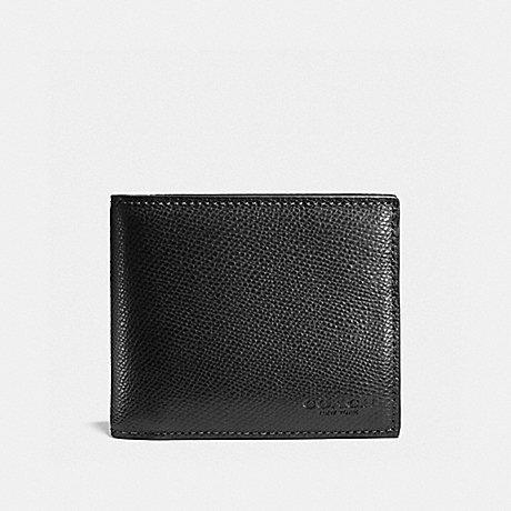 Coach Compact ID Wallet 3 in 1 Crossgrain Leather Black