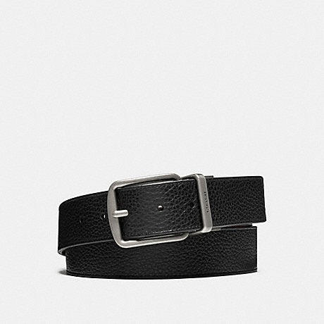 Coach Reversible Belt Pebble Leather Black in Silver Buckle