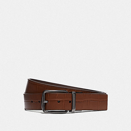 Coach Wide Reversible Belt Croc in Saddle