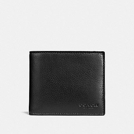 Coach Compact ID Wallet in Sports Calf Leather Black