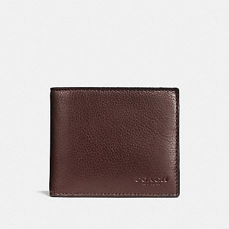 Coach Compact ID Wallet in Sport Calf Leather Mahogany
