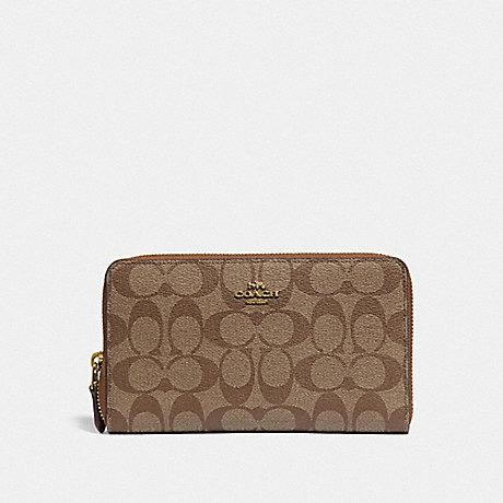 Coach Continental Zip Around Wallet in Signature Khaki