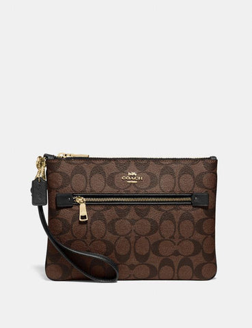 Coach Gallery Pouch In Signature Brown Black