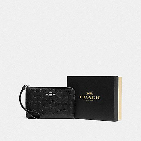 Coach Boxed Corner Zip Small Wristlet in Glittery Embossed Black