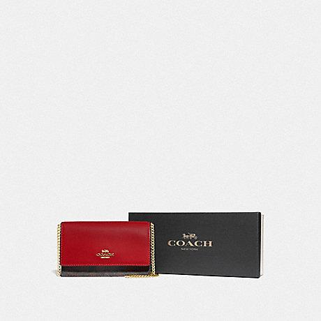 Coach Boxed Flap Belt Bag in Signature Dark Brown/True Red